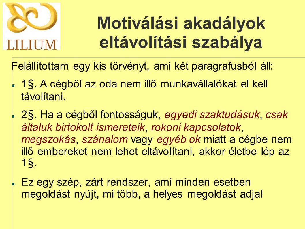 Motiválási akadályok eltávolítási szabálya Felállítottam egy kis törvényt, ami két paragrafusból áll:  1§. A cégből az oda nem illő munkavállalókat e