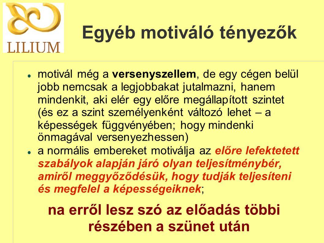 Egyéb motiváló tényezők  motivál még a versenyszellem, de egy cégen belül jobb nemcsak a legjobbakat jutalmazni, hanem mindenkit, aki elér egy előre megállapított szintet (és ez a szint személyenként változó lehet – a képességek függvényében; hogy mindenki önmagával versenyezhessen)  a normális embereket motiválja az előre lefektetett szabályok alapján járó olyan teljesítménybér, amiről meggyőződésük, hogy tudják teljesíteni és megfelel a képességeiknek; na erről lesz szó az előadás többi részében a szünet után