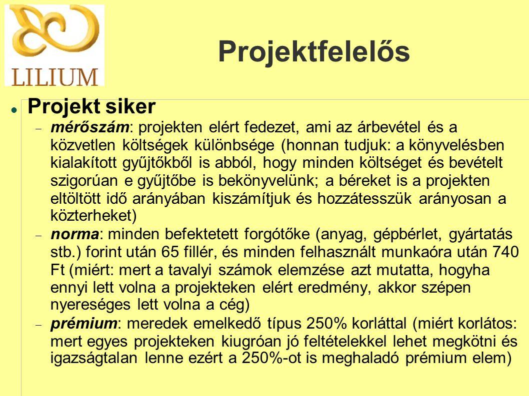 Projektfelelős  Projekt siker  mérőszám: projekten elért fedezet, ami az árbevétel és a közvetlen költségek különbsége (honnan tudjuk: a könyvelésben kialakított gyűjtőkből is abból, hogy minden költséget és bevételt szigorúan e gyűjtőbe is bekönyvelünk; a béreket is a projekten eltöltött idő arányában kiszámítjuk és hozzátesszük arányosan a közterheket)  norma: minden befektetett forgótőke (anyag, gépbérlet, gyártatás stb.) forint után 65 fillér, és minden felhasznált munkaóra után 740 Ft (miért: mert a tavalyi számok elemzése azt mutatta, hogyha ennyi lett volna a projekteken elért eredmény, akkor szépen nyereséges lett volna a cég)  prémium: meredek emelkedő típus 250% korláttal (miért korlátos: mert egyes projekteken kiugróan jó feltételekkel lehet megkötni és igazságtalan lenne ezért a 250%-ot is meghaladó prémium elem)