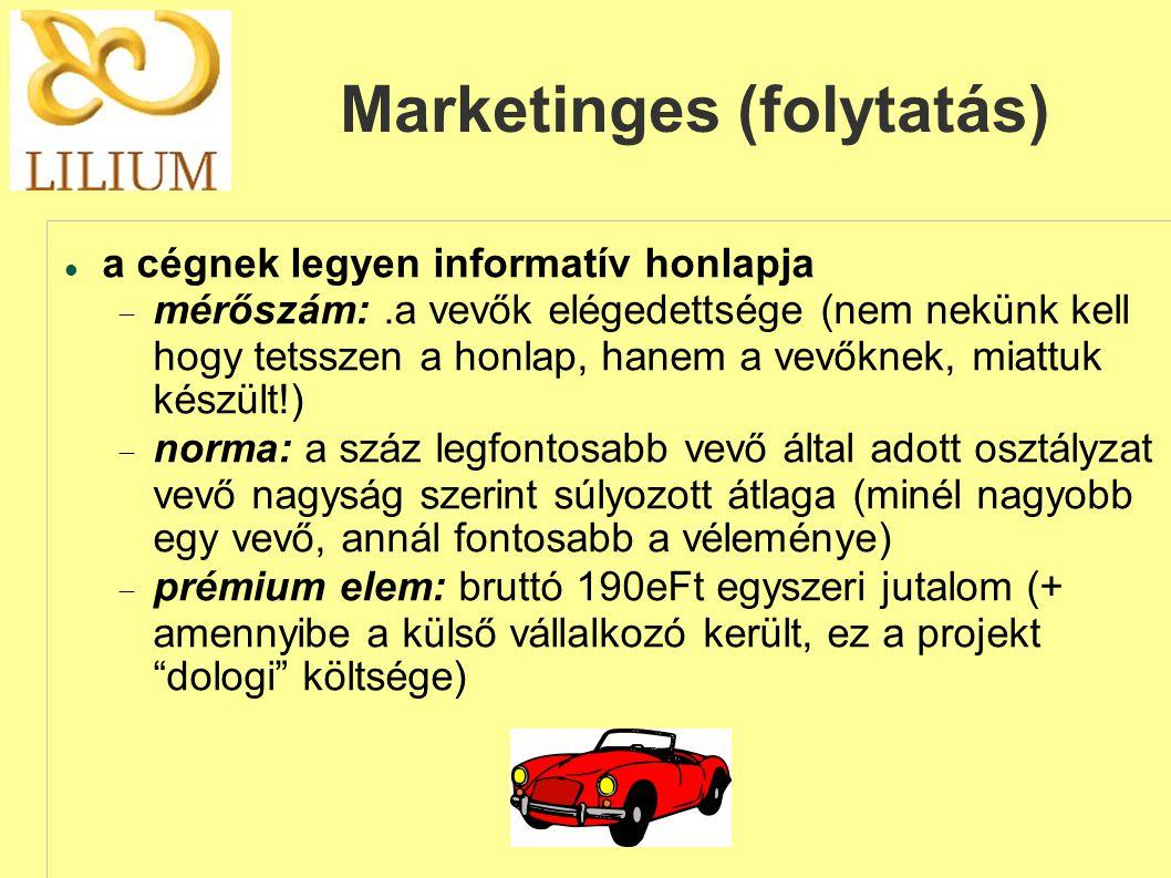 Marketinges (folytatás)  a cégnek legyen informatív honlapja  mérőszám:.a vevők elégedettsége (nem nekünk kell hogy tetsszen a honlap, hanem a vevőknek, miattuk készült!)  norma: a száz legfontosabb vevő által adott osztályzat vevő nagyság szerint súlyozott átlaga (minél nagyobb egy vevő, annál fontosabb a véleménye)  prémium elem: bruttó 190eFt egyszeri jutalom (+ amennyibe a külső vállalkozó került, ez a projekt dologi költsége)
