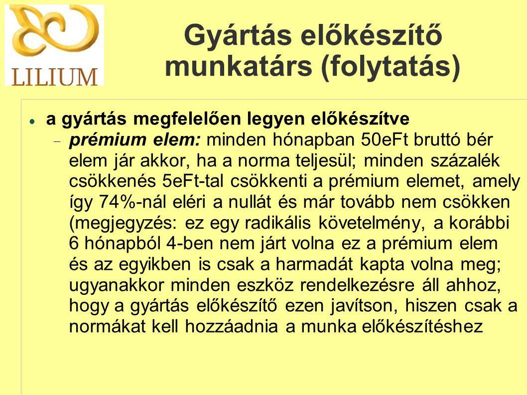 Gyártás előkészítő munkatárs (folytatás)  a gyártás megfelelően legyen előkészítve  prémium elem: minden hónapban 50eFt bruttó bér elem jár akkor,