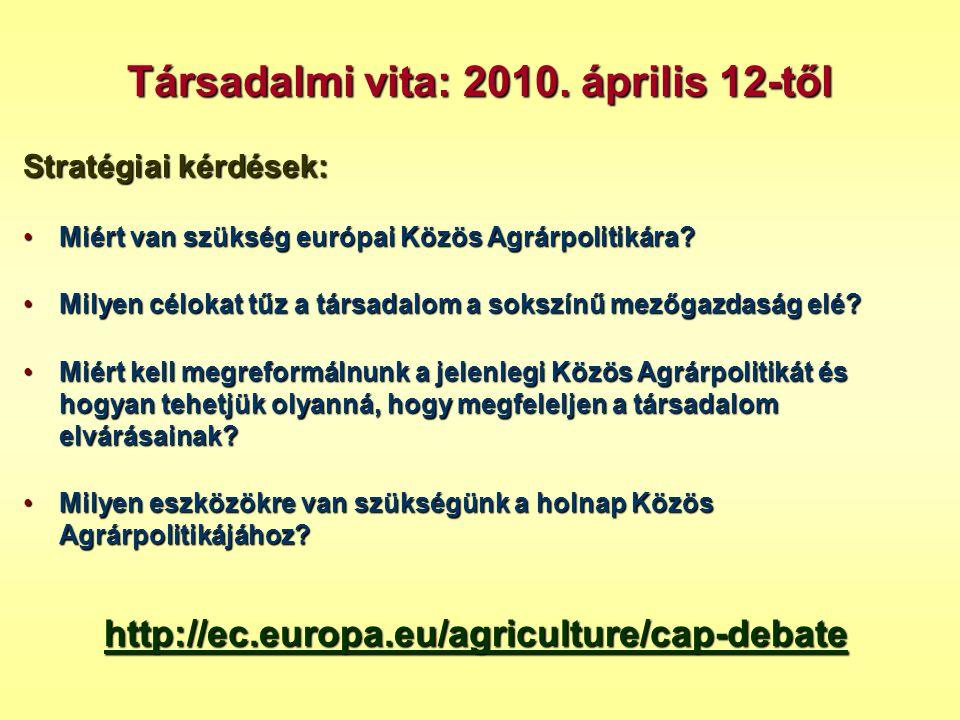 Stratégiai kérdések: •Miért van szükség európai Közös Agrárpolitikára? •Milyen célokat tűz a társadalom a sokszínű mezőgazdaság elé? •Miért kell megre