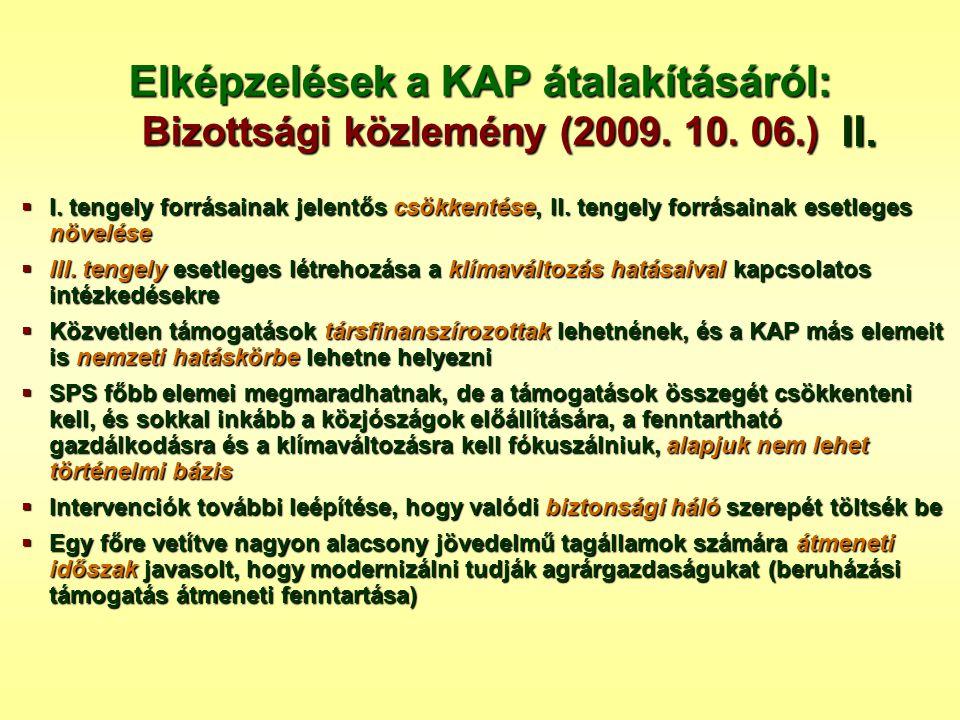 Elképzelések a KAP átalakításáról: Bizottsági közlemény (2009. 10. 06.)  I. tengely forrásainak jelentős csökkentése, II. tengely forrásainak esetleg
