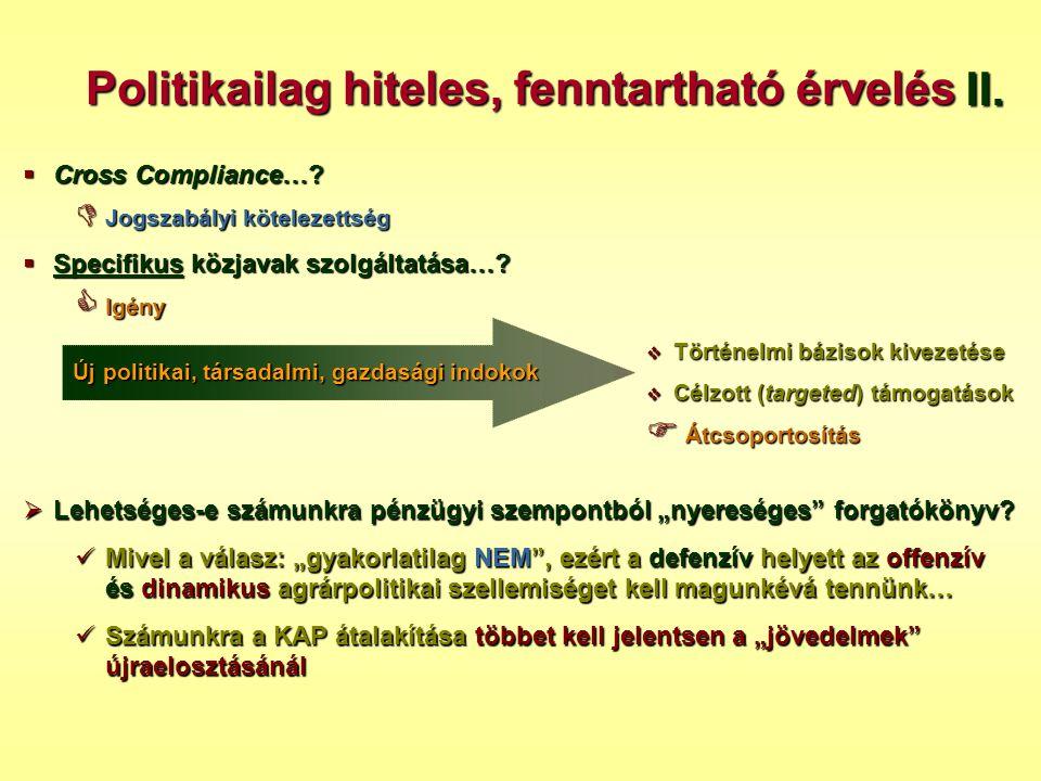 Politikailag hiteles, fenntartható érvelés  Cross Compliance…?  Jogszabályi kötelezettség  Specifikus közjavak szolgáltatása…?  Igény II.  Történ