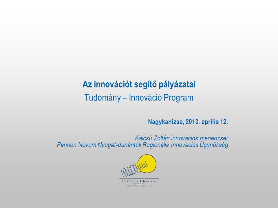 Az innovációt segítő pályázatai Tudomány – Innováció Program Nagykanizsa, 2013.