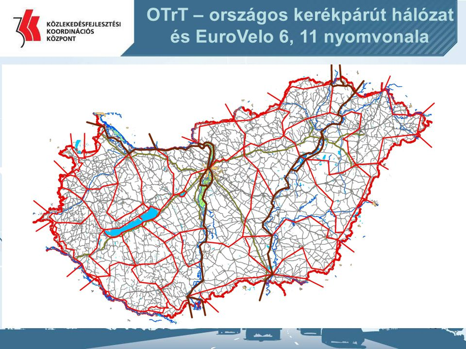 16 OTrT – országos kerékpárút hálózat és EuroVelo 6, 11 nyomvonala