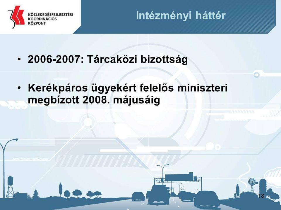 18 Intézményi háttér •2006-2007: Tárcaközi bizottság •Kerékpáros ügyekért felelős miniszteri megbízott 2008. májusáig