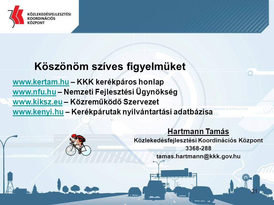 21 Hartmann Tamás Közlekedésfejlesztési Koordinációs Központ 3368-288 tamas.hartmann@kkk.gov.hu Köszönöm szíves figyelmüket www.kertam.hu – KKK kerékpáros honlap www.nfu.hu – Nemzeti Fejlesztési Ügynökség www.kiksz.eu – Közreműködő Szervezet www.kenyi.hu – Kerékpárutak nyilvántartási adatbázisa