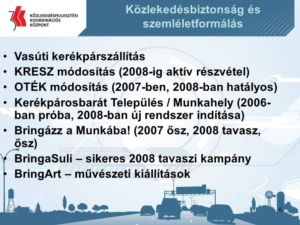 6 Közlekedésbiztonság és szemléletformálás •Vasúti kerékpárszállítás •KRESZ módosítás (2008-ig aktív részvétel) •OTÉK módosítás (2007-ben, 2008-ban hatályos) •Kerékpárosbarát Település / Munkahely (2006- ban próba, 2008-ban új rendszer indítása) •Bringázz a Munkába.