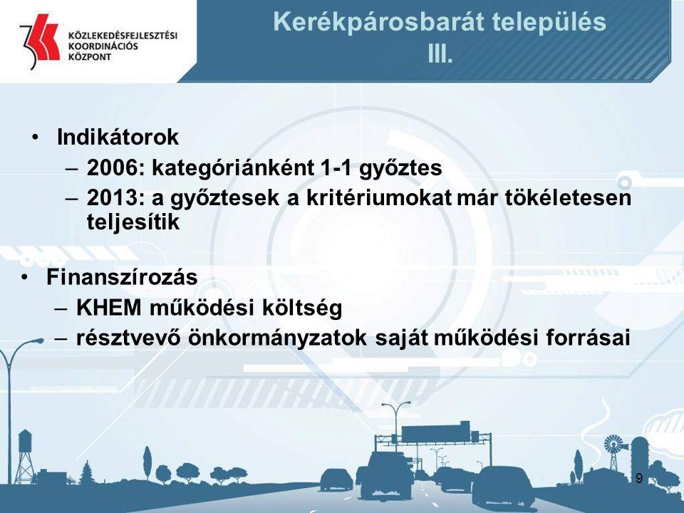 9 Kerékpárosbarát település III. •Finanszírozás –KHEM működési költség –résztvevő önkormányzatok saját működési forrásai •Indikátorok –2006: kategóriá