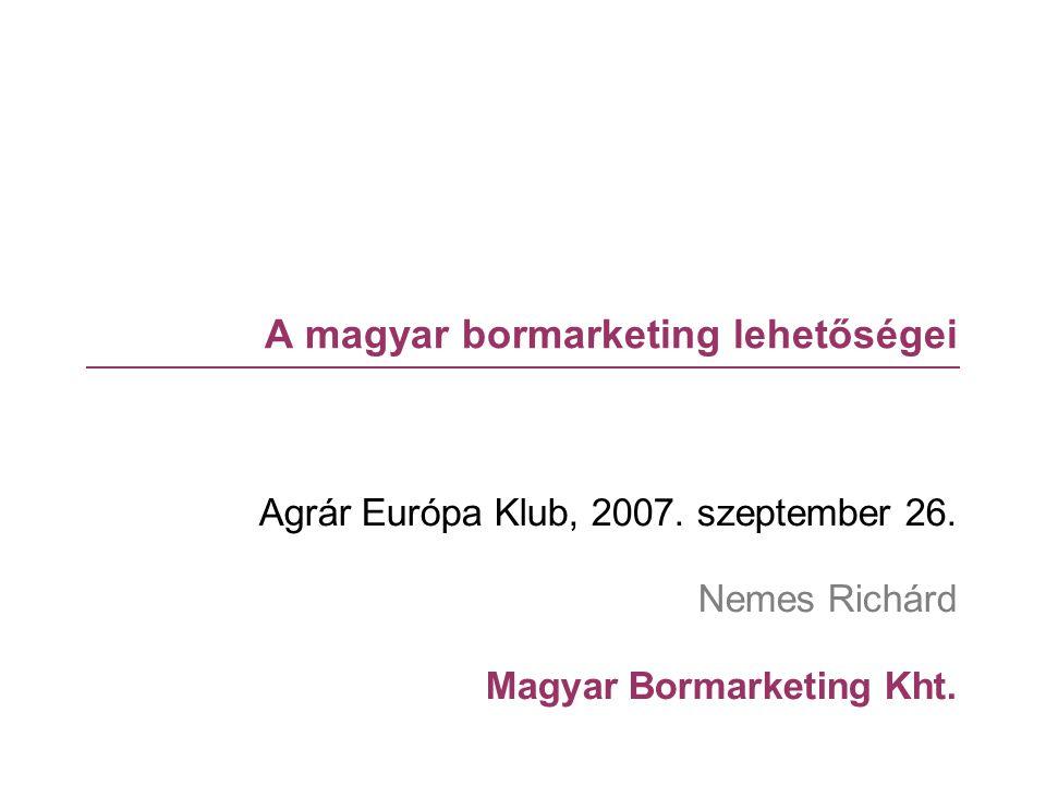 Tartalom  A magyar borágazat  Versenyképesség  Működési környezet  Belföldi piac  Külkereskedelem  Marketing – koncepció  Nemzeti Bormarketing 2008