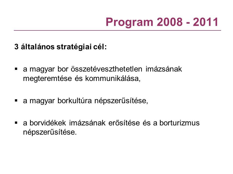 Program 2008 - 2011 3 általános stratégiai cél:  a magyar bor összetéveszthetetlen imázsának megteremtése és kommunikálása,  a magyar borkultúra nép