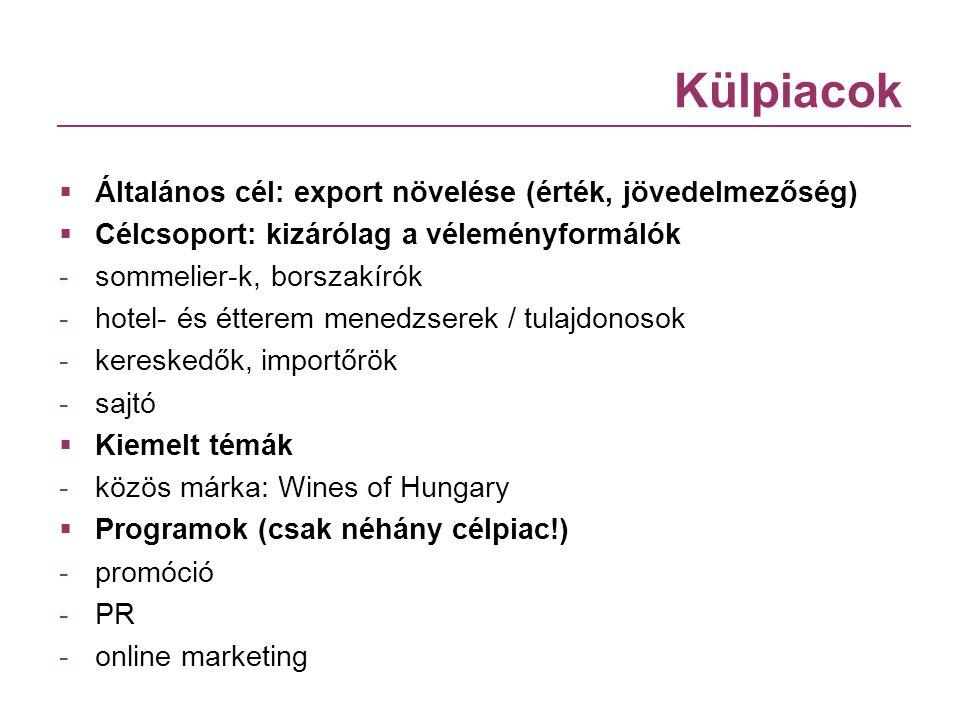 Külpiacok  Általános cél: export növelése (érték, jövedelmezőség)  Célcsoport: kizárólag a véleményformálók - sommelier-k, borszakírók - hotel- és é
