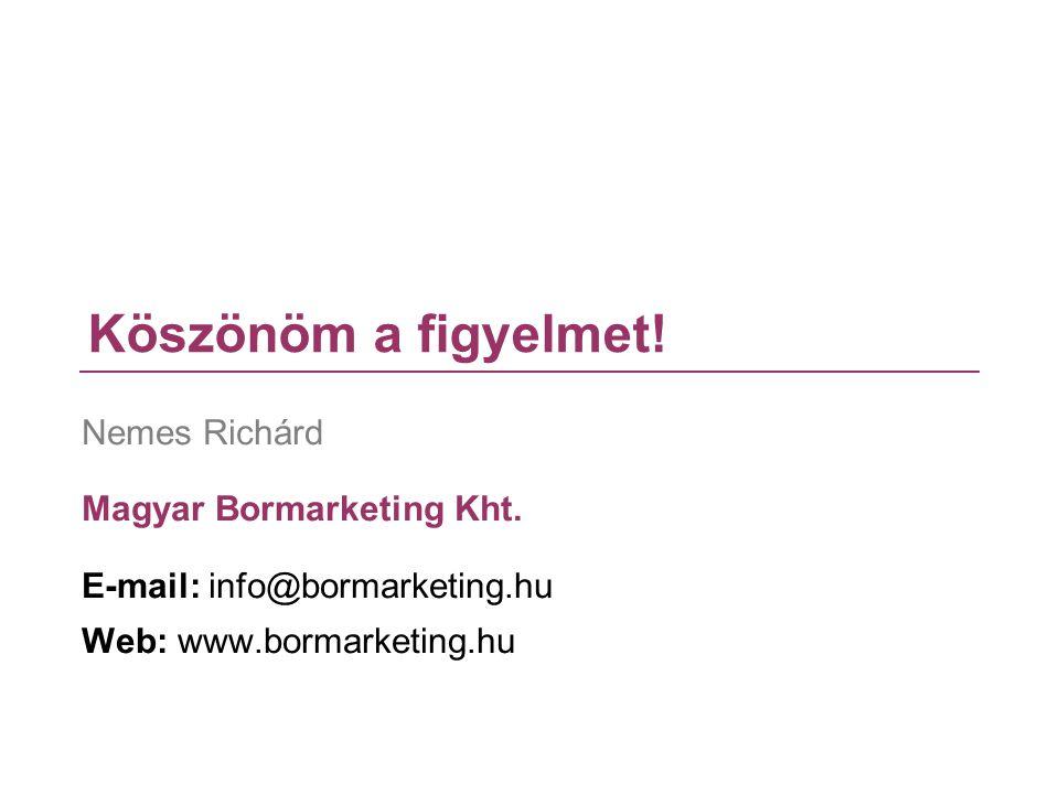 Köszönöm a figyelmet! Nemes Richárd Magyar Bormarketing Kht. E-mail: info@bormarketing.hu Web: www.bormarketing.hu