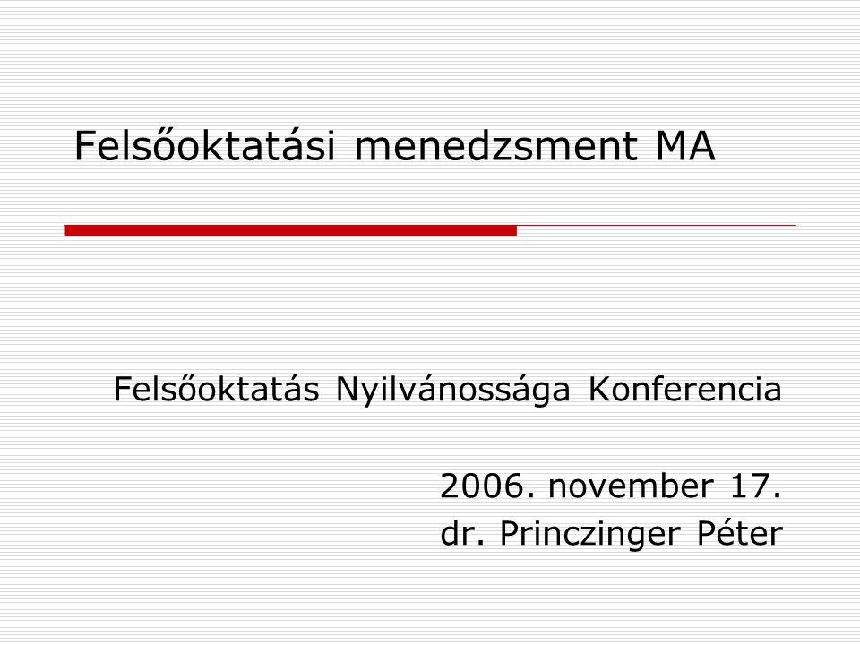 Felsőoktatási menedzsment MA Felsőoktatás Nyilvánossága Konferencia 2006. november 17. dr. Princzinger Péter