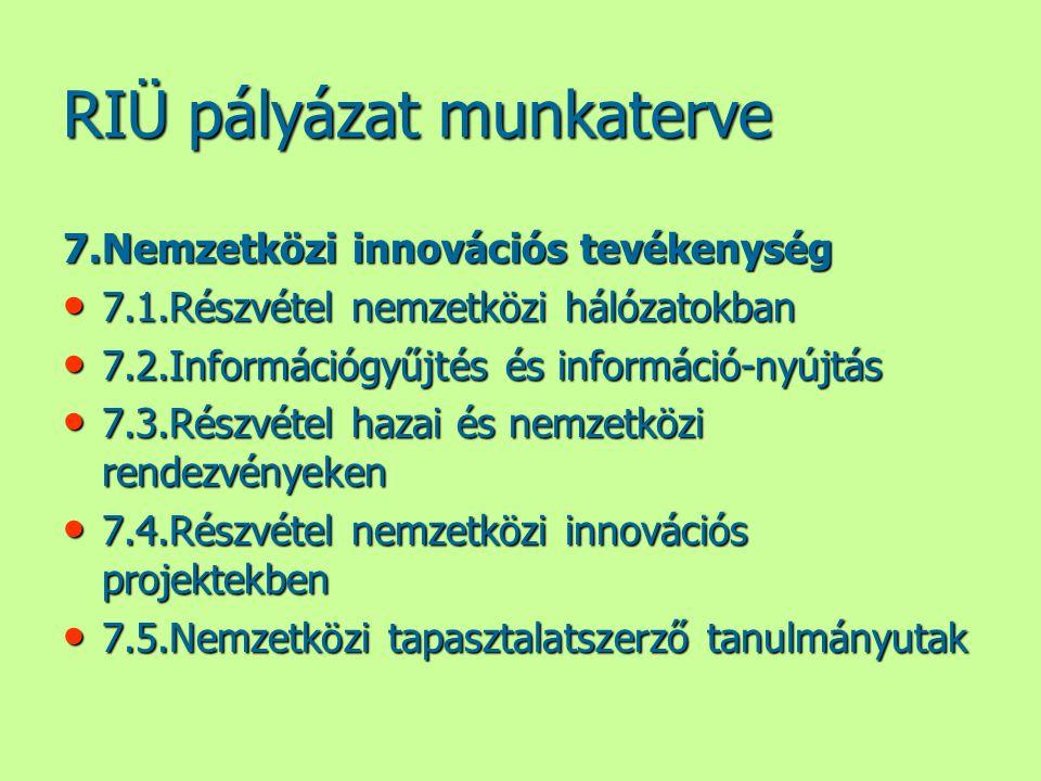 RIÜ pályázat munkaterve 7.Nemzetközi innovációs tevékenység • 7.1.Részvétel nemzetközi hálózatokban • 7.2.Információgyűjtés és információ-nyújtás • 7.