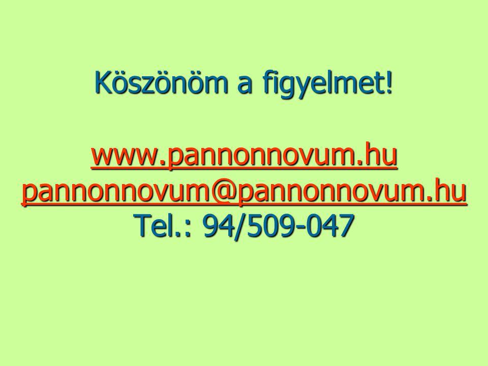 Köszönöm a figyelmet! www.pannonnovum.hu pannonnovum@pannonnovum.hu Tel.: 94/509-047 www.pannonnovum.hu pannonnovum@pannonnovum.hu www.pannonnovum.hu