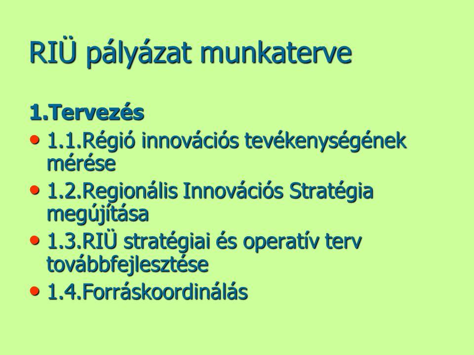 RIÜ pályázat munkaterve 1.Tervezés • 1.1.Régió innovációs tevékenységének mérése • 1.2.Regionális Innovációs Stratégia megújítása • 1.3.RIÜ stratégiai
