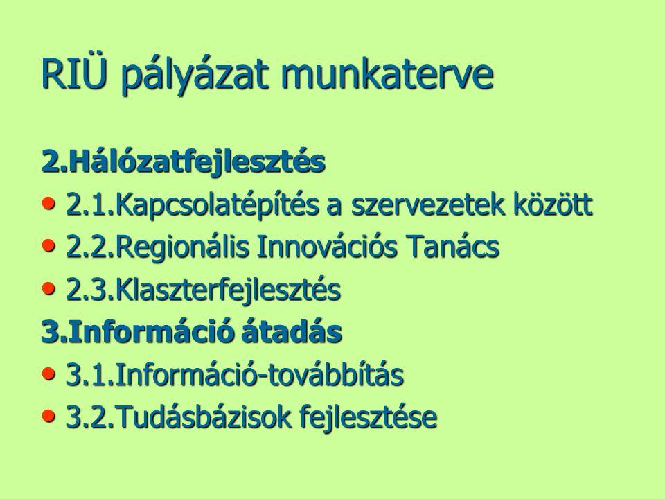 RIÜ pályázat munkaterve 2.Hálózatfejlesztés • 2.1.Kapcsolatépítés a szervezetek között • 2.2.Regionális Innovációs Tanács • 2.3.Klaszterfejlesztés 3.Információ átadás • 3.1.Információ-továbbítás • 3.2.Tudásbázisok fejlesztése