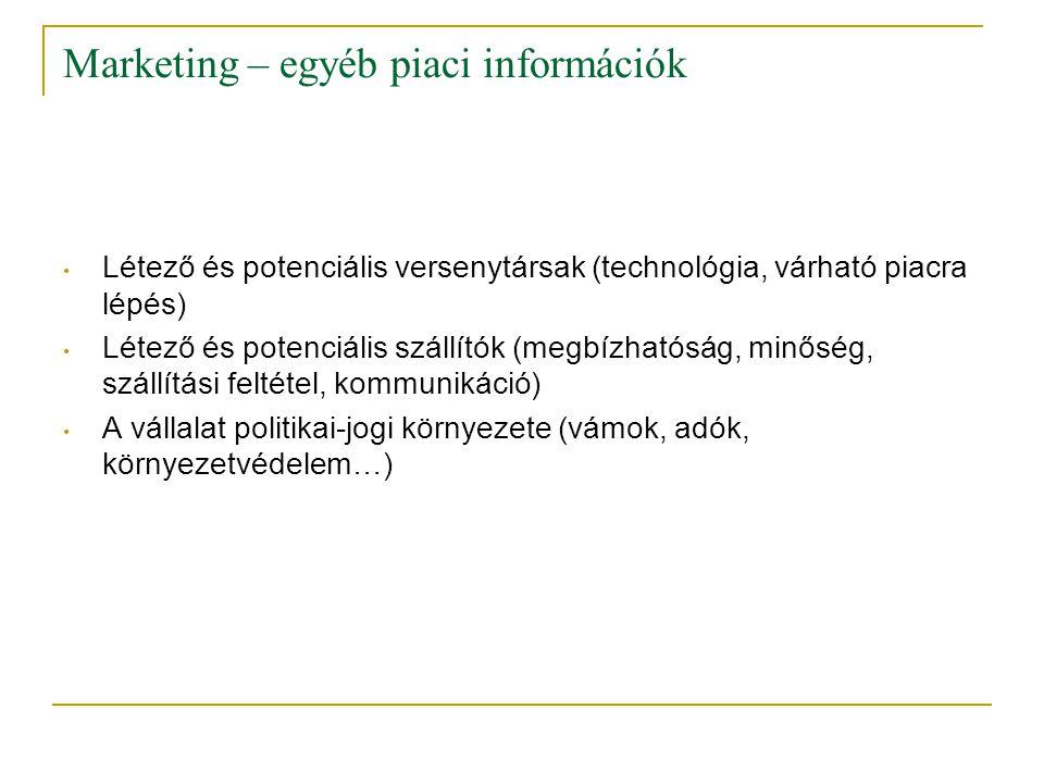 Marketing – egyéb piaci információk • Létező és potenciális versenytársak (technológia, várható piacra lépés) • Létező és potenciális szállítók (megbí