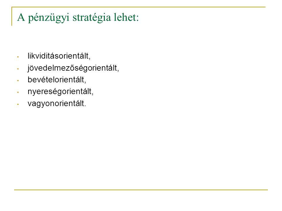 A pénzügyi stratégia lehet: • likviditásorientált, • jövedelmezőségorientált, • bevételorientált, • nyereségorientált, • vagyonorientált.