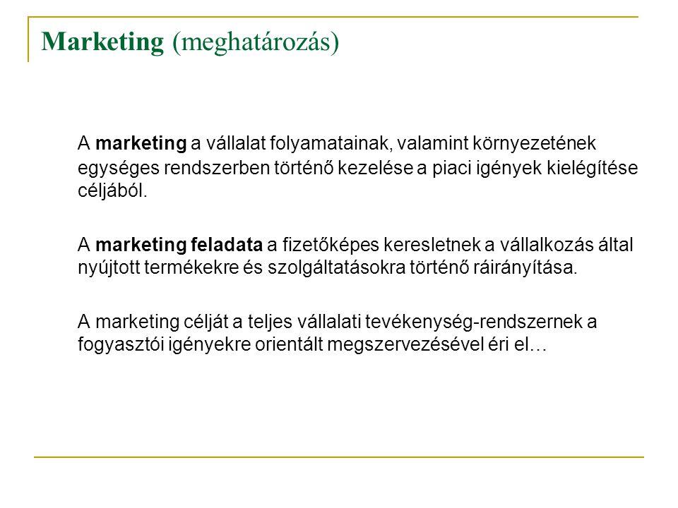Marketing (meghatározás) A marketing a vállalat folyamatainak, valamint környezetének egységes rendszerben történő kezelése a piaci igények kielégítés