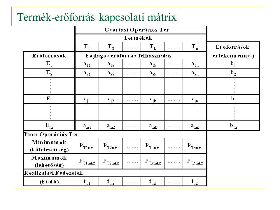 Termék-erőforrás kapcsolati mátrix