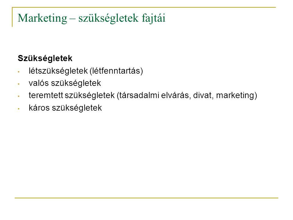 Marketing – szükségletek fajtái Szükségletek • létszükségletek (létfenntartás) • valós szükségletek • teremtett szükségletek (társadalmi elvárás, diva