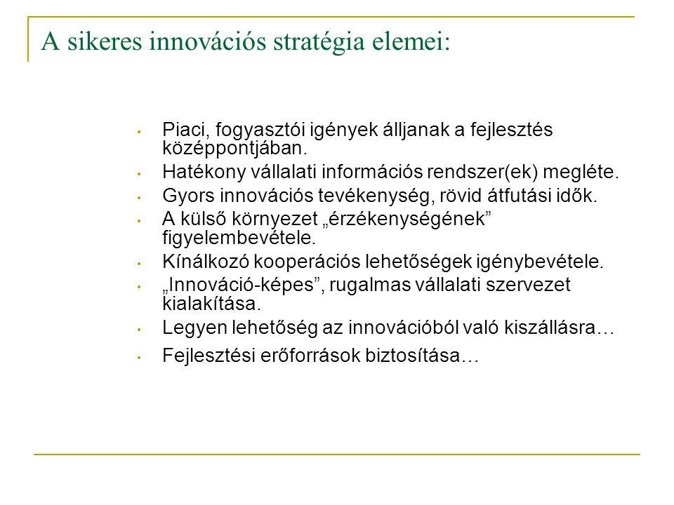A sikeres innovációs stratégia elemei: • Piaci, fogyasztói igények álljanak a fejlesztés középpontjában. • Hatékony vállalati információs rendszer(ek)