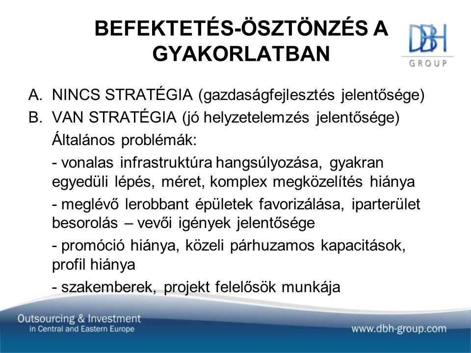 BEFEKTETÉS-ÖSZTÖNZÉS A GYAKORLATBAN A.NINCS STRATÉGIA (gazdaságfejlesztés jelentősége) B.VAN STRATÉGIA (jó helyzetelemzés jelentősége) Általános problémák: - vonalas infrastruktúra hangsúlyozása, gyakran egyedüli lépés, méret, komplex megközelítés hiánya - meglévő lerobbant épületek favorizálása, iparterület besorolás – vevői igények jelentősége - promóció hiánya, közeli párhuzamos kapacitások, profil hiánya - szakemberek, projekt felelősök munkája