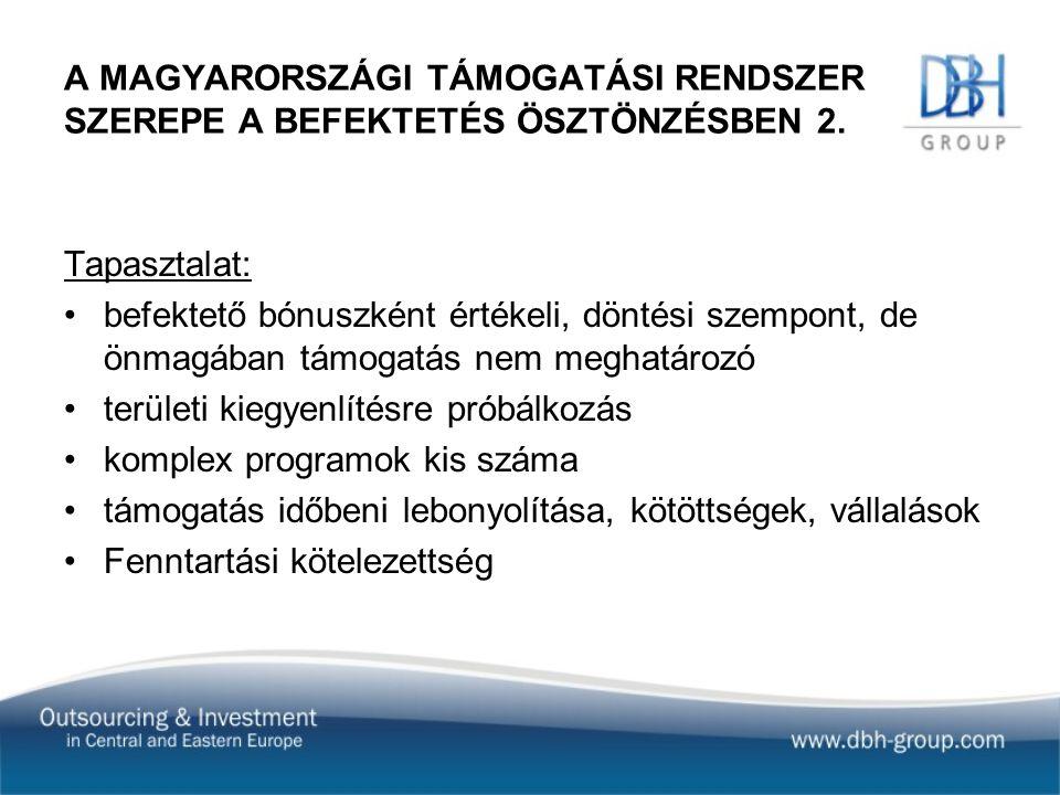 A MAGYARORSZÁGI TÁMOGATÁSI RENDSZER SZEREPE A BEFEKTETÉS ÖSZTÖNZÉSBEN 2.
