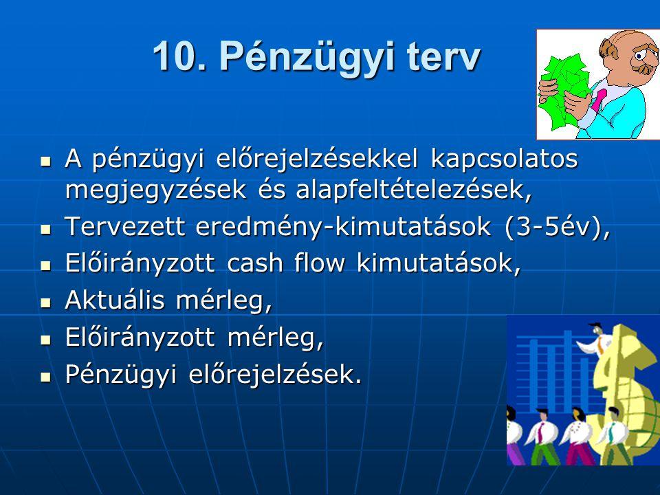 10. Pénzügyi terv  A pénzügyi előrejelzésekkel kapcsolatos megjegyzések és alapfeltételezések,  Tervezett eredmény-kimutatások (3-5év),  Előirányzo