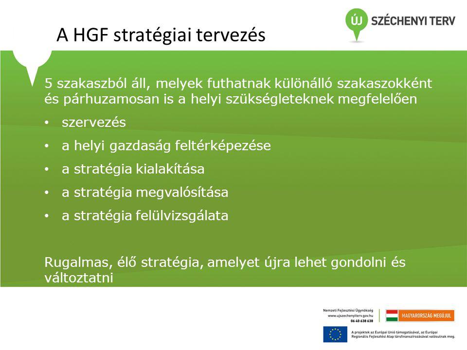 A HGF stratégiai tervezés 5 szakaszból áll, melyek futhatnak különálló szakaszokként és párhuzamosan is a helyi szükségleteknek megfelelően • szervezé