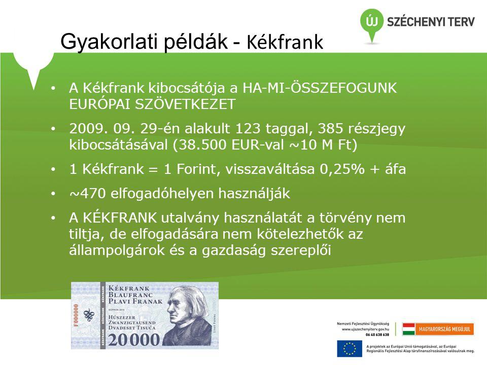 Gyakorlati példák - Kékfrank • A Kékfrank kibocsátója a HA-MI-ÖSSZEFOGUNK EURÓPAI SZÖVETKEZET • 2009. 09. 29-én alakult 123 taggal, 385 részjegy kiboc