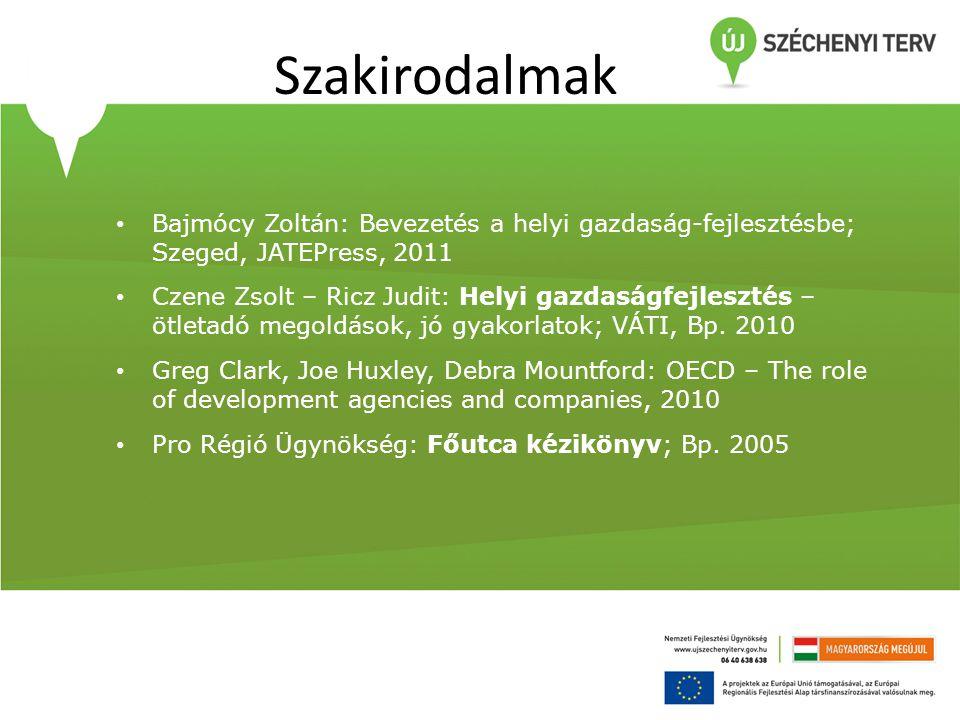 Szakirodalmak • Bajmócy Zoltán: Bevezetés a helyi gazdaság-fejlesztésbe; Szeged, JATEPress, 2011 • Czene Zsolt – Ricz Judit: Helyi gazdaságfejlesztés