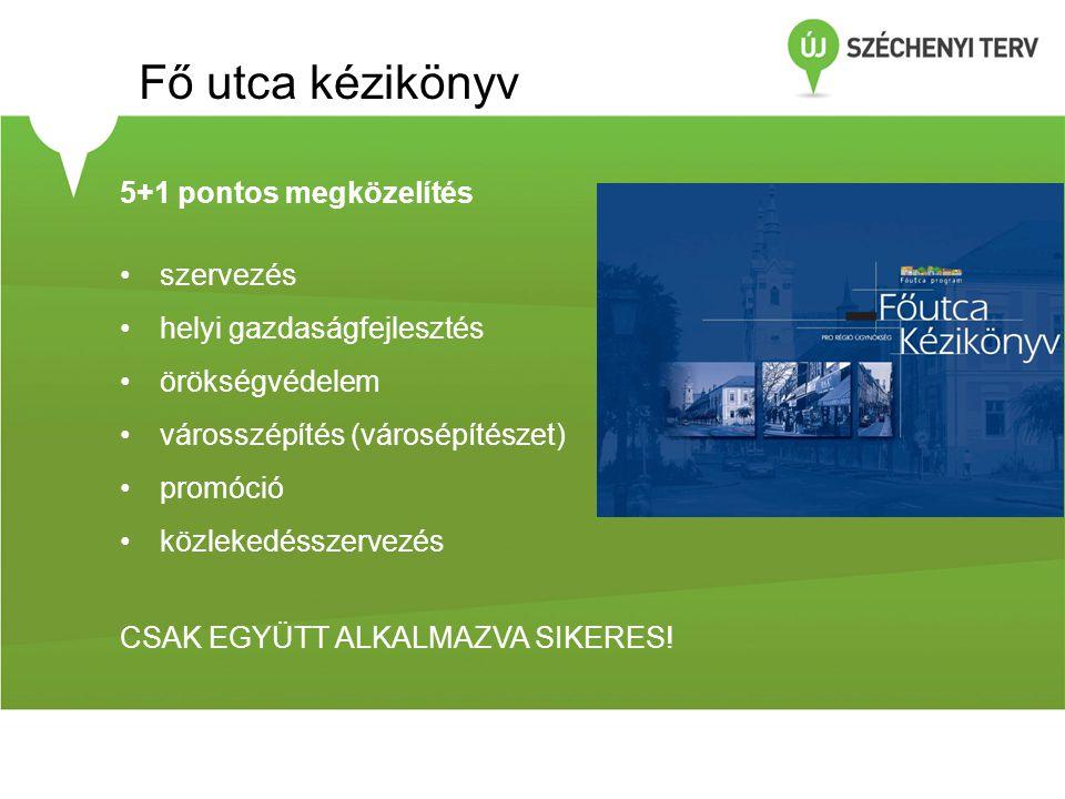 5+1 pontos megközelítés •szervezés •helyi gazdaságfejlesztés •örökségvédelem •városszépítés (városépítészet) •promóció •közlekedésszervezés CSAK EGYÜT