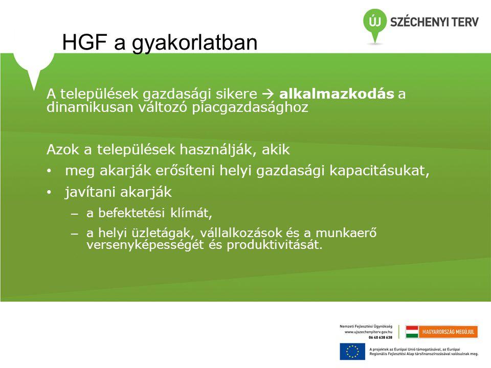 HGF a gyakorlatban A települések gazdasági sikere  alkalmazkodás a dinamikusan változó piacgazdasághoz Azok a települések használják, akik • meg akar