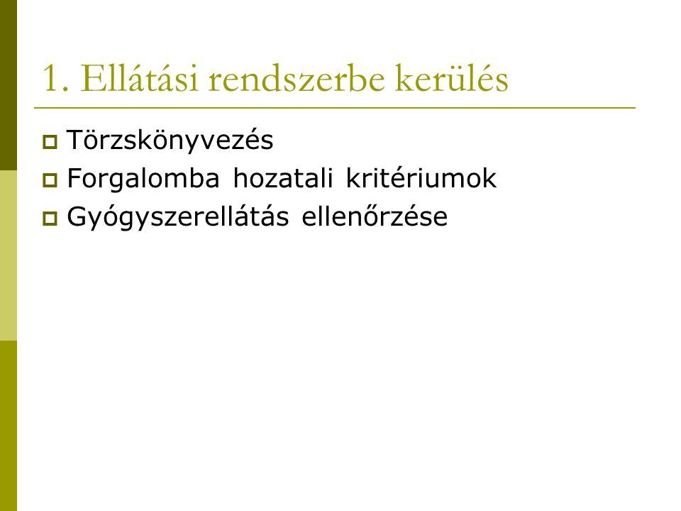 1. Ellátási rendszerbe kerülés  Törzskönyvezés  Forgalomba hozatali kritériumok  Gyógyszerellátás ellenőrzése
