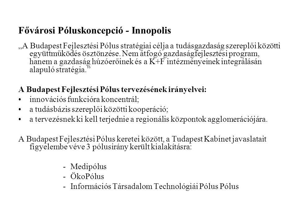 """Fővárosi Póluskoncepció - Innopolis """"A Budapest Fejlesztési Pólus stratégiai célja a tudásgazdaság szereplői közötti együttműködés ösztönzése. Nem átf"""