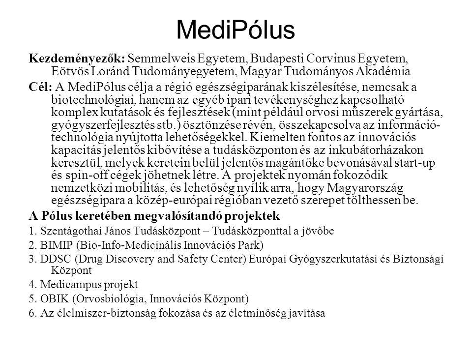 MediPólus Kezdeményezők: Semmelweis Egyetem, Budapesti Corvinus Egyetem, Eötvös Loránd Tudományegyetem, Magyar Tudományos Akadémia Cél: A MediPólus célja a régió egészségiparának kiszélesítése, nemcsak a biotechnológiai, hanem az egyéb ipari tevékenységhez kapcsolható komplex kutatások és fejlesztések (mint például orvosi műszerek gyártása, gyógyszerfejlesztés stb.) ösztönzése révén, összekapcsolva az információ- technológia nyújtotta lehetőségekkel.