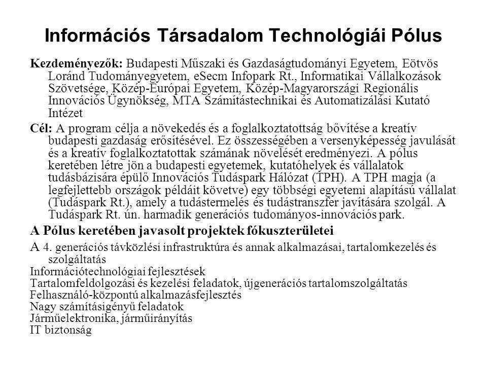 Információs Társadalom Technológiái Pólus Kezdeményezők: Budapesti Műszaki és Gazdaságtudományi Egyetem, Eötvös Loránd Tudományegyetem, eSecm Infopark
