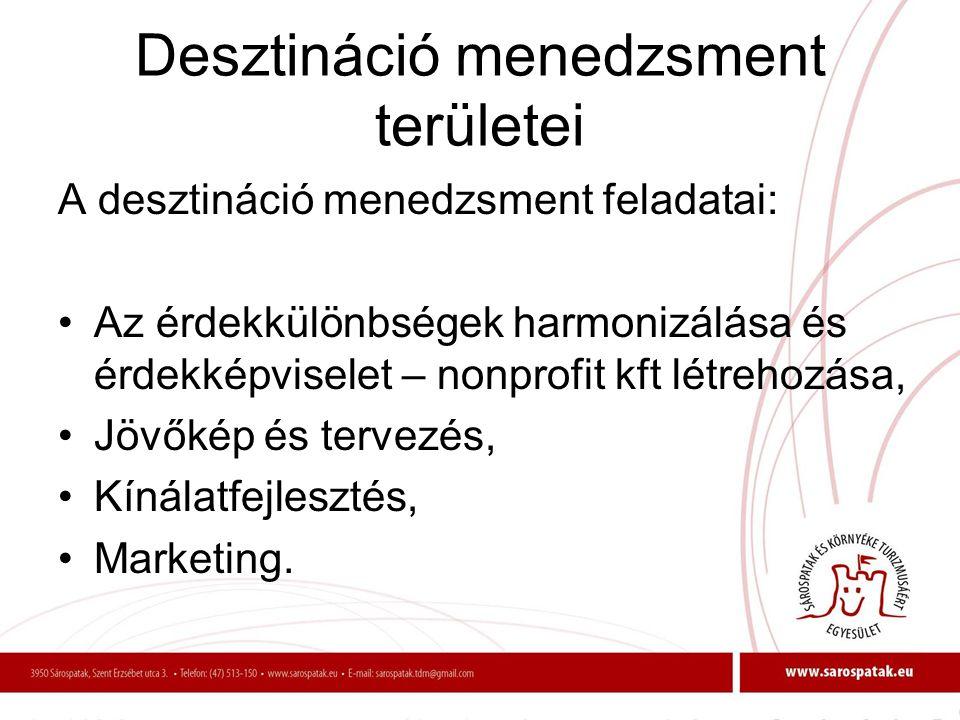 Desztináció menedzsment területei A desztináció menedzsment feladatai: •Az érdekkülönbségek harmonizálása és érdekképviselet – nonprofit kft létrehozá