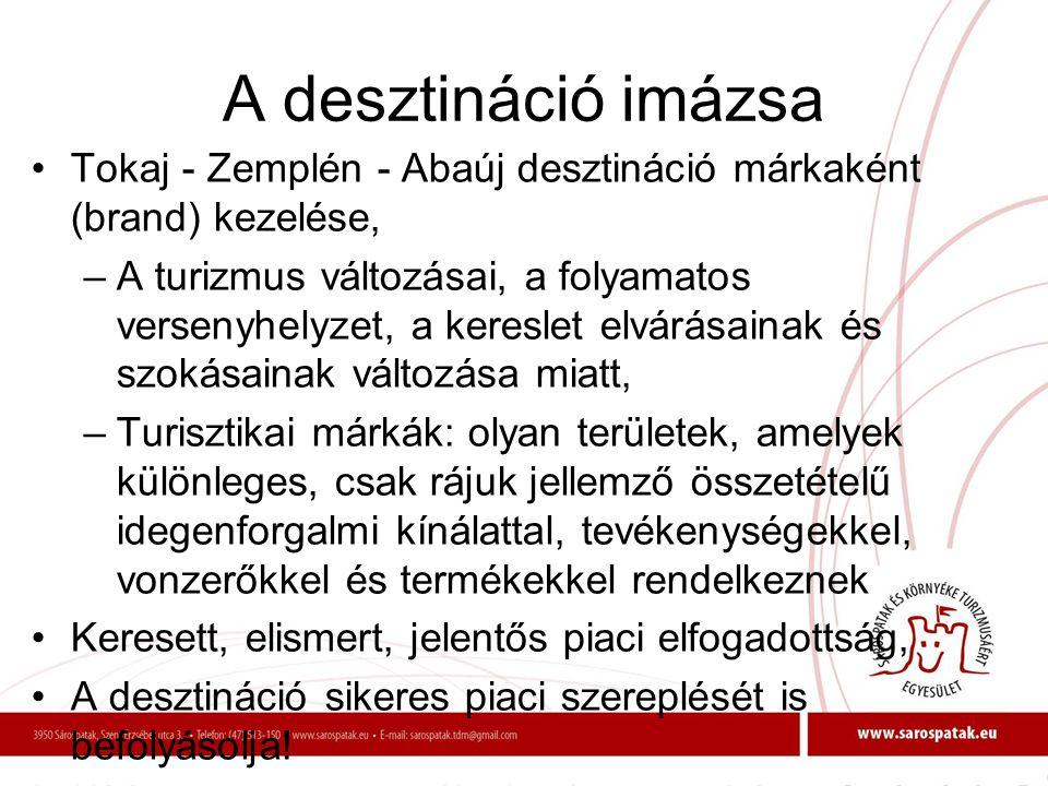 A desztináció imázsa •Tokaj - Zemplén - Abaúj desztináció márkaként (brand) kezelése, –A turizmus változásai, a folyamatos versenyhelyzet, a kereslet