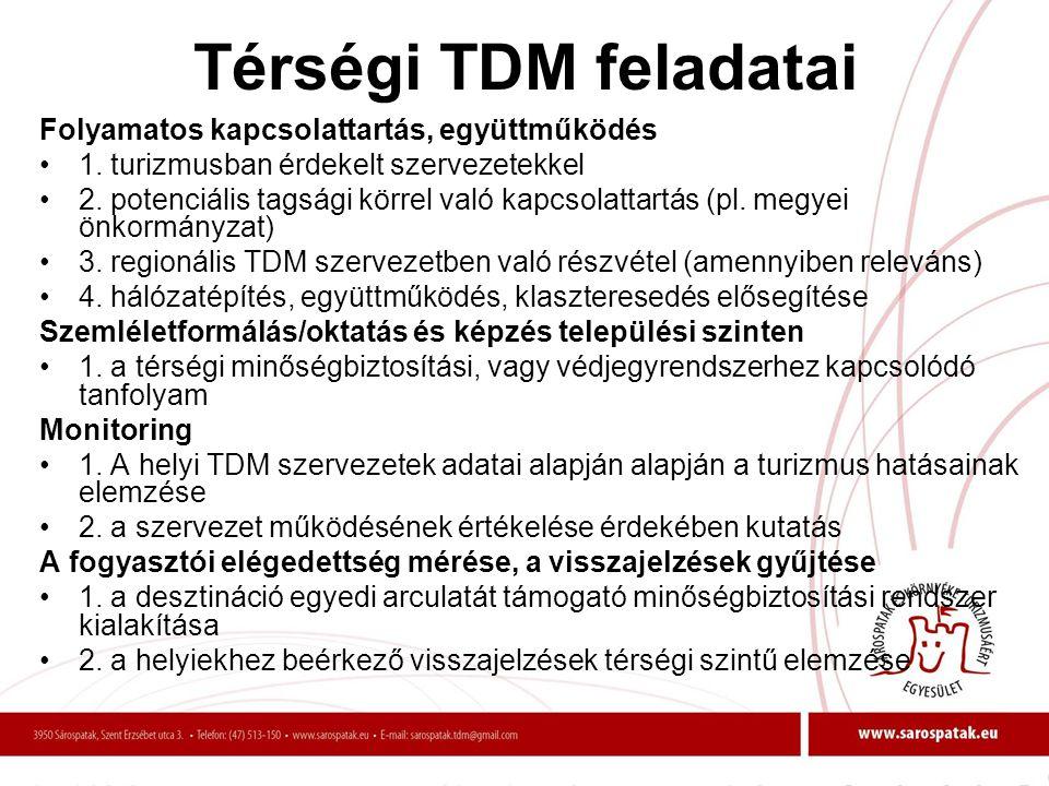 Térségi TDM feladatai Folyamatos kapcsolattartás, együttműködés •1. turizmusban érdekelt szervezetekkel •2. potenciális tagsági körrel való kapcsolatt