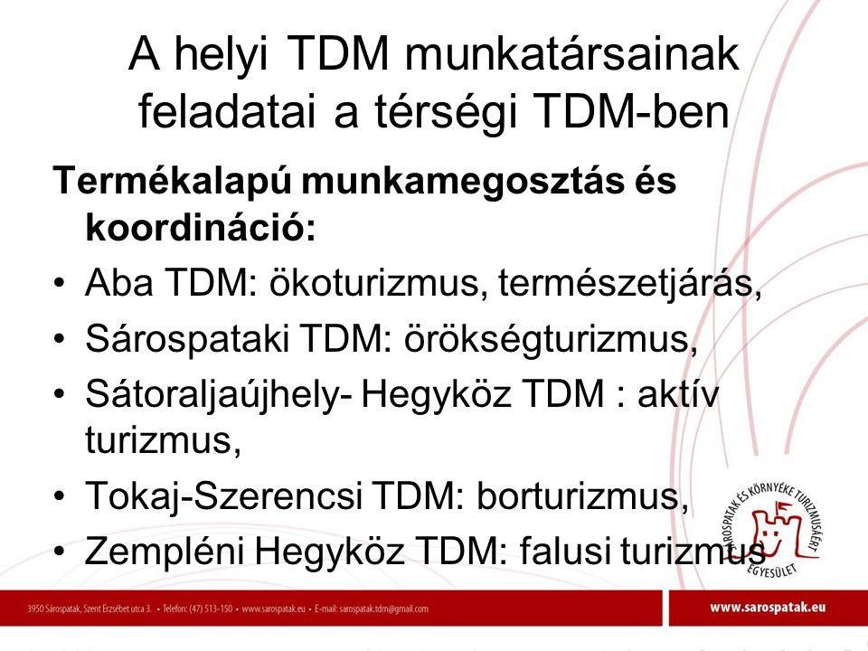 A helyi TDM munkatársainak feladatai a térségi TDM-ben Termékalapú munkamegosztás és koordináció: •Aba TDM: ökoturizmus, természetjárás, •Sárospataki