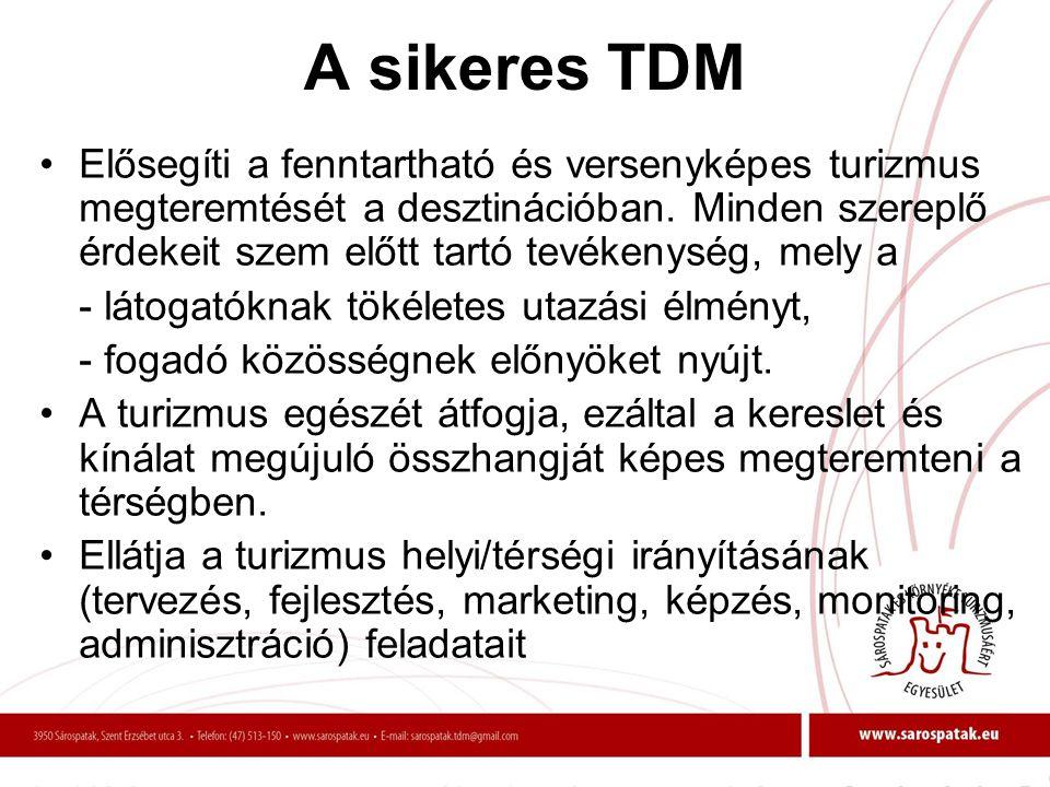 A sikeres TDM •Elősegíti a fenntartható és versenyképes turizmus megteremtését a desztinációban. Minden szereplő érdekeit szem előtt tartó tevékenység