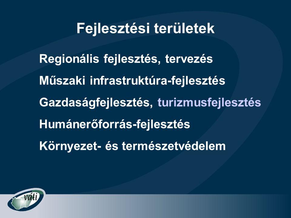 Fejlesztési területek Regionális fejlesztés, tervezés Műszaki infrastruktúra-fejlesztés Gazdaságfejlesztés, turizmusfejlesztés Humánerőforrás-fejleszt