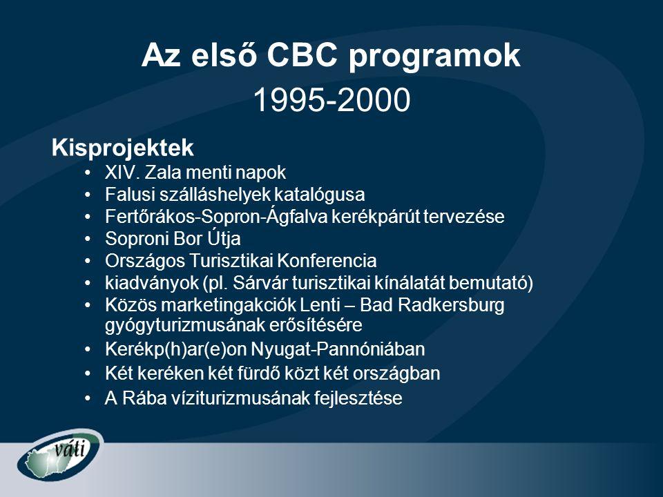 Az első CBC programok Kisprojektek •XIV. Zala menti napok •Falusi szálláshelyek katalógusa •Fertőrákos-Sopron-Ágfalva kerékpárút tervezése •Soproni Bo