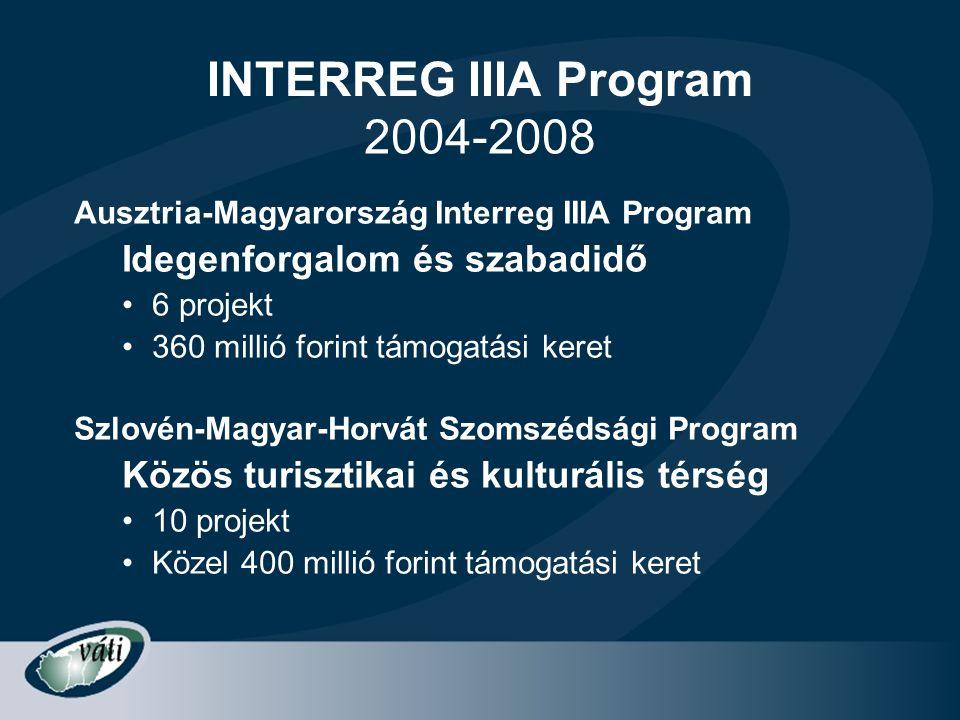 INTERREG IIIA Program Ausztria-Magyarország Interreg IIIA Program Idegenforgalom és szabadidő •6 projekt •360 millió forint támogatási keret Szlovén-M