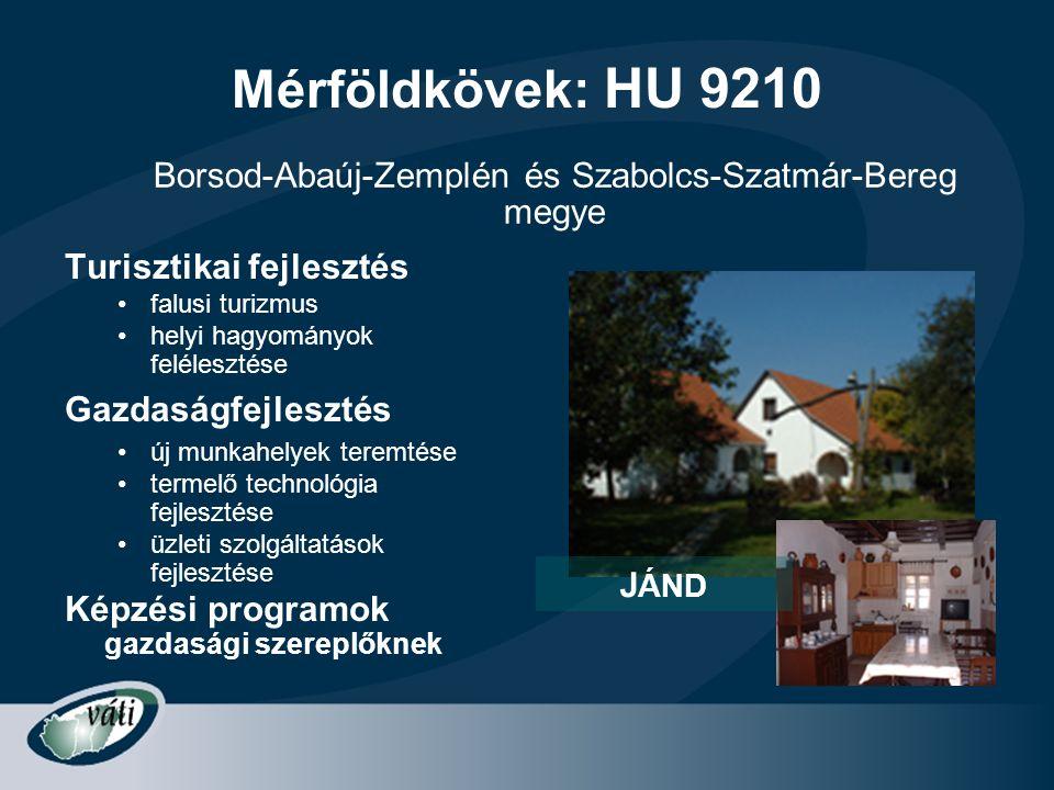 Mérföldkövek: HU 9210 Turisztikai fejlesztés •falusi turizmus •helyi hagyományok felélesztése Gazdaságfejlesztés •új munkahelyek teremtése •termelő te